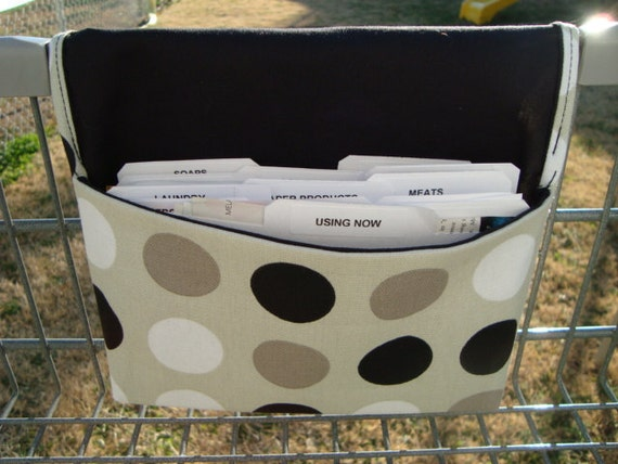 Fabric Coupon Holder Organizer /Budget Organizer Holder - Attaches to Your Shopping Cart - Black,White Dots on Cream Duck Fabric