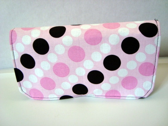 10% Off Fabric Coupon Organizer /Budget Organizer Holder - Attaches to Your Shopping Cart -Pink ,White Black Dots