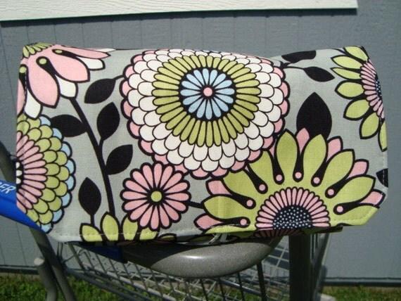 Fabric Coupon Organizer / Budget Organizer Holder  -  Mum Floral On Gray