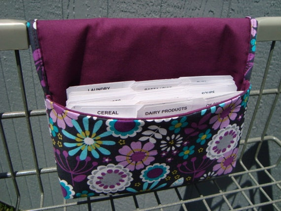 Coupon Organizer Cash Budget Organizer Holder- Attaches to your Shopping Cart / Lazy Daisy Floral - Plum Lining