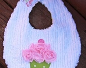 Cupcake Bib - Pink and Green - or ANY COLOR Combo - Birthday Bib - First Birthday