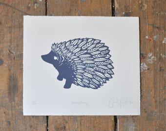 Navy Hedgehog Screenprint