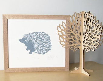 Grey Hedgehog Screenprint