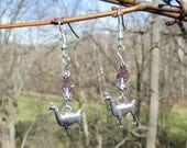 Llama Charm Earrings- Pewter Llama  with Rose Crystal Beads