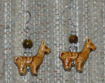 Peruvian llama bead earrings with Swarovski crystals and Tiger Eye Bead