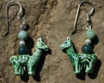 Cute ceramic llama bead earrings with jade and silver beads
