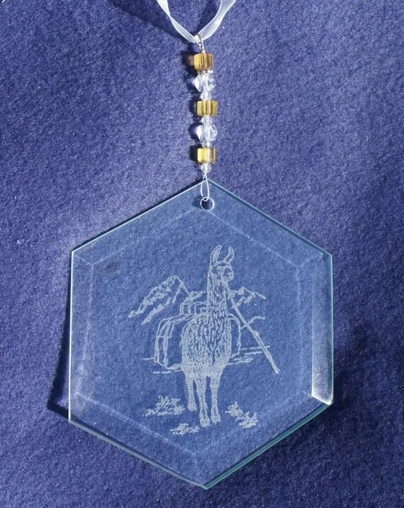 Llama Suncatcher with decorative glass beads