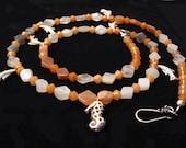 Moonstone, Silver, Play At Sea, Original, Handmade, Necklace, ocean, orange, sea horse