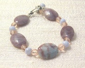 Lepidolite and Blue Lace Agate, Dancing Flowers, Bracelet OOAK