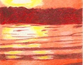 Vivid Sunrise, sun, sunrise, water, orange, yellow, brown, ACEO