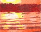 Vivid Sunrise, sun, sunrise, water, orange, yellow, brown, ACEO
