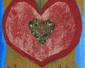 Primal Heart, heart, collage, ooak, hands, red, blue, Valentine