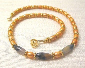 Peach and Gold Seaside Dawn Necklace, one of a kind, original design