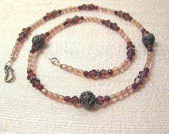 Garnet and Czech Glass and Swarovski Crysal, Evening Kiss, Necklace, one of a kind, original design
