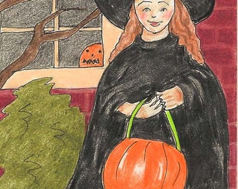 """Halloween, Witch, Costume, Pumpkin, """"The Littlest Witch,"""" ACEO, 7 Card Draw"""