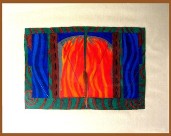 Fire Gate, original acrylic, painting, beads, fire, gate, element, elements, red, blue, green, feather, beads
