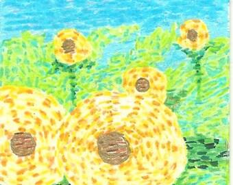 Whirling Sun Flowers, sunflowers, sun, flower, sky, earth, yellow, green, blue