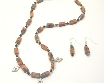 Marble Agate, Pyrite and Sterling Silver, Ancient Treasure Necklace, one of a kind, original design