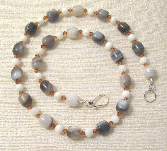 Sonata Necklace, Botswana Agate, Pearl and Crystal