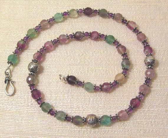 Flourite and Sterling Silver Mystic Mountains Necklace, green, purple, OOAK
