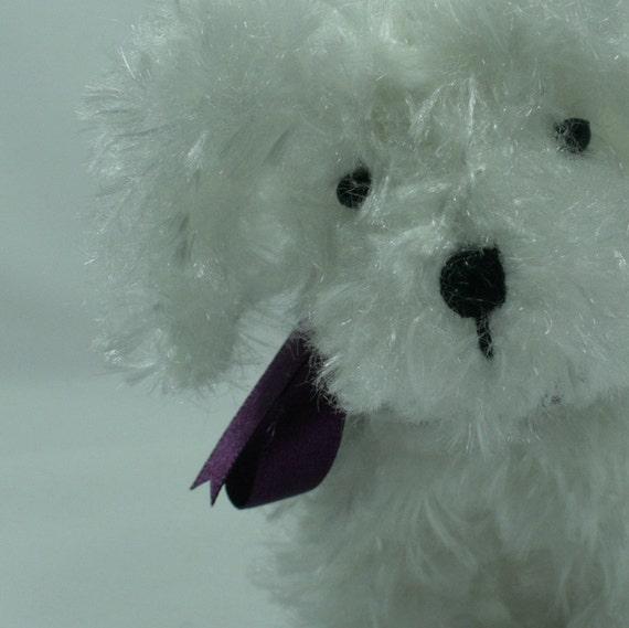 White, knitted, amigurumi, puppy, dog, softie