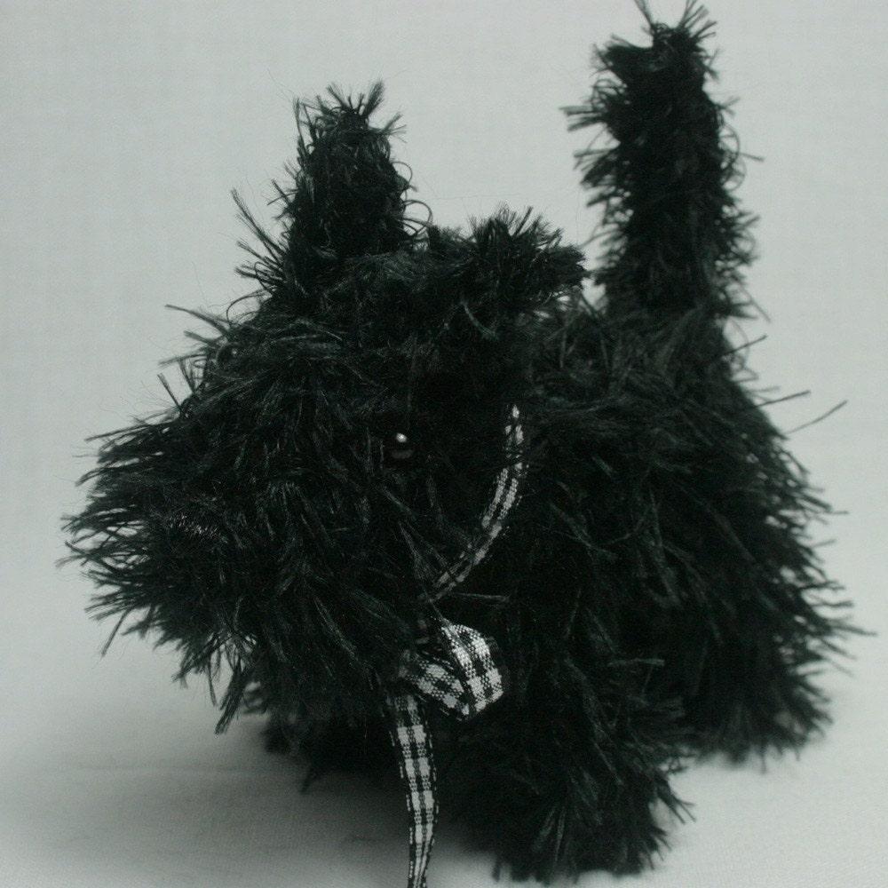 Amigurumi Scottie Dog Pattern : Black Scottie Dog Hand Knitted Amigurumi