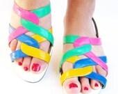 SALE Vintage NEW WAVE Pleather Rainbow Beach Sandals 1970s 1980s 8 Ladies Women 6 5 38