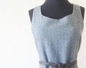 Vintage 1970s Jumper // 70s HERRINGBONE Dress // Retro INDIE Medium Large WOOL Dress Winter M L