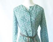 Vintage 1970s Dress // 70s BOHO Gown // Flowy BOHEMIAN Medium Large M L Emeral Green Indie