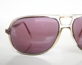 Vintage 1970s AVIATOR Sunglasses Glasses Unisex 70s GREY Fade Indie Hipster OVERSIZED