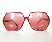 Vintage RED Geometric Sunglasses Eyeglasses 1980s HUGE Oversized Womens Ladies BOHO Bohemian Chic