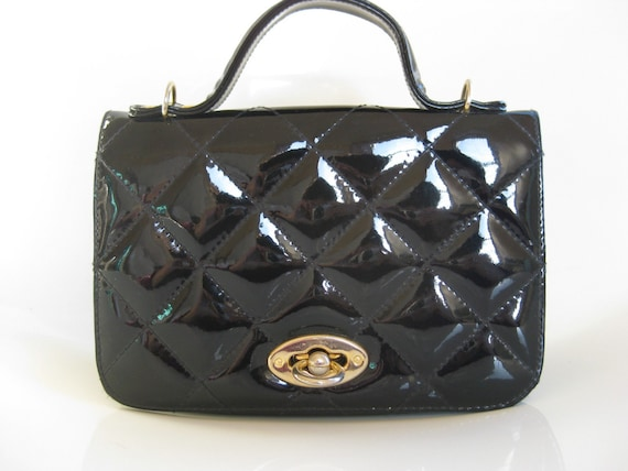 Vintage QUILTED Indie Patent Leather EBONY Clutch with Brass Hardware 1950s Rockabilly