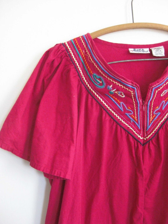 Vintage Bohemian Moo Moo Embroidered Tunic Dress By