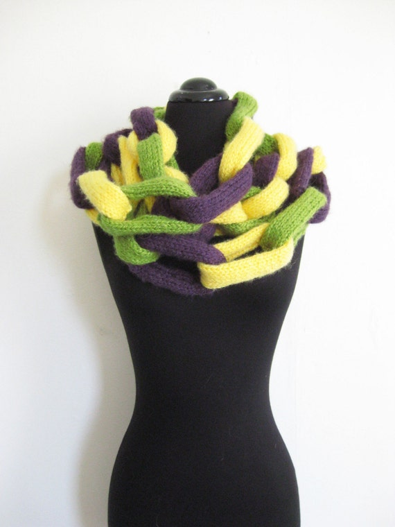 Vintage IN CHAINS Indie Scarf Wrap Chain 1970s HANDMADE Recyled Purple Yellow