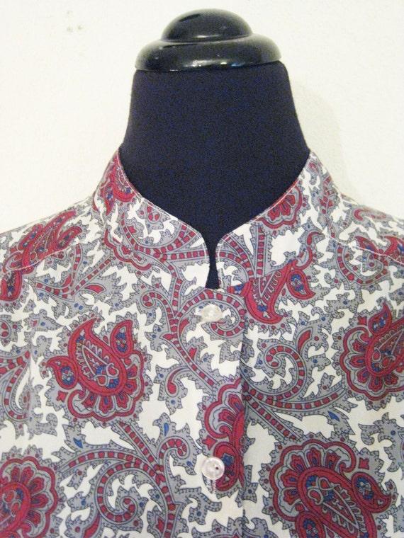vintage tunic shirt plus size boho blouse xl xxl paisley 1970s. Black Bedroom Furniture Sets. Home Design Ideas