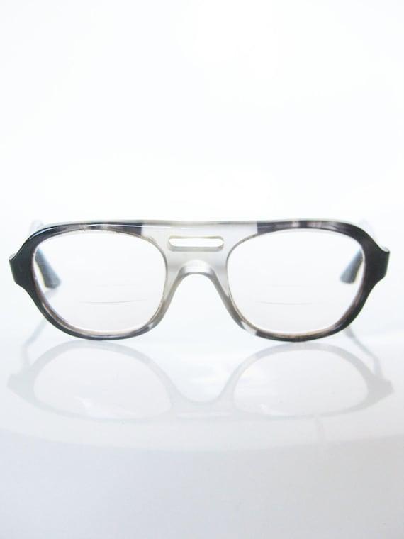 Vintage GEEK CHIC Glasses Eyeglasses TITMUS Indie Gray Smoke 1960s Mad Men Mid Century Modern
