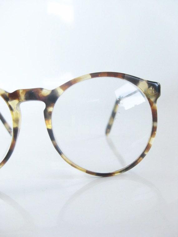 Vintage ROUND Olive Green Eyeglasses Glasses TORTOISESHELL