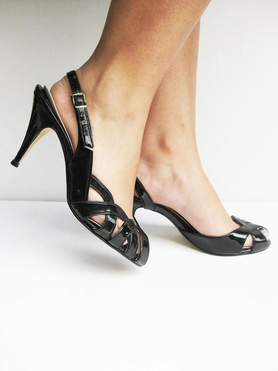 SALE Vintage PEEP Toe High Heel Pumps Womens 7 Strappy Slingback 1960s 60s Sixties Mad Men VIXEN