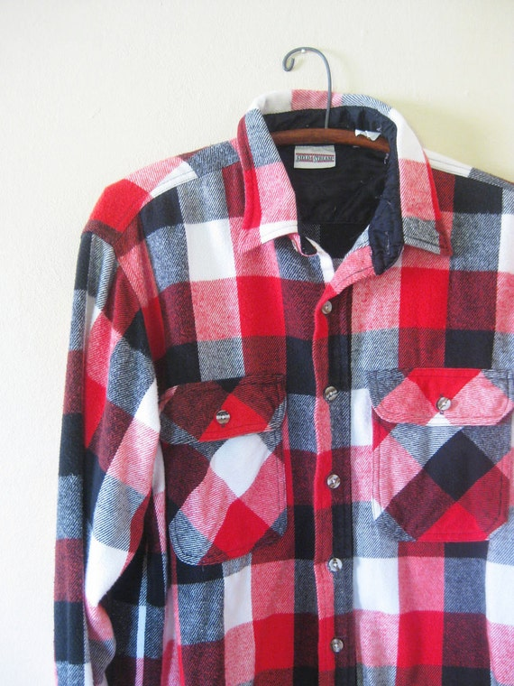 Vintage Lumberjack Mens Shirt Plaid Medium Large Flannel Indie