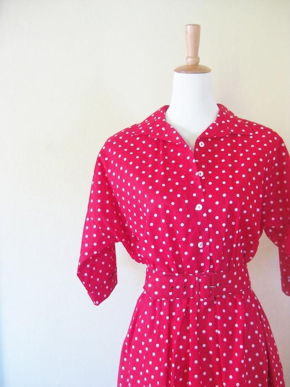 Vintage ROCKABILLY Dress Polka Dots Crimson Medium Large PIN UP Girl 1950s 50s Fifties Mad Men
