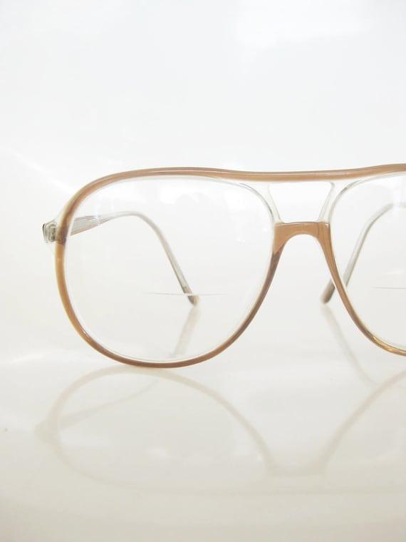 Vintage 1970s AVIATOR Glasses // 70s Mens Eyeglasses // Indie Optical Frames HIPSTER Chic Guys COFFEE Brown
