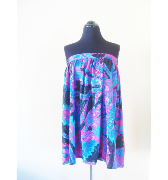 SALE Vintage 1980s Skirt // 80s Tube Top // Grunge INDIE Hipster Large Extra Xl L Small MAGENTA Cobalt New Wave