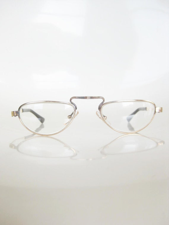 Vintage 1940s Reading Glasses FRENCH France Gold Art NOUVEAU Indie Classic Old Hollywood