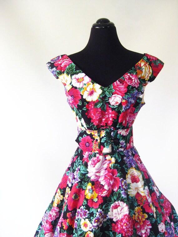 Vintage 1980s FULL SKIRT Formal Dress Small Medium S M MAGENTA Pink Black 80s Grunge Of the Shoulder