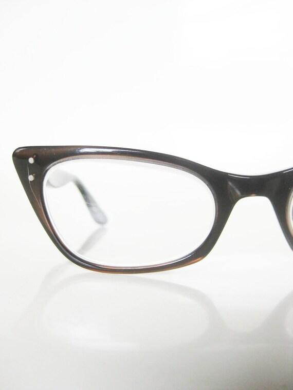 Vintage 1950s CAT EYE Eyeglasses Glasses Optical Frames COFFEE Brown Cateye Mad Men Indie HIpster