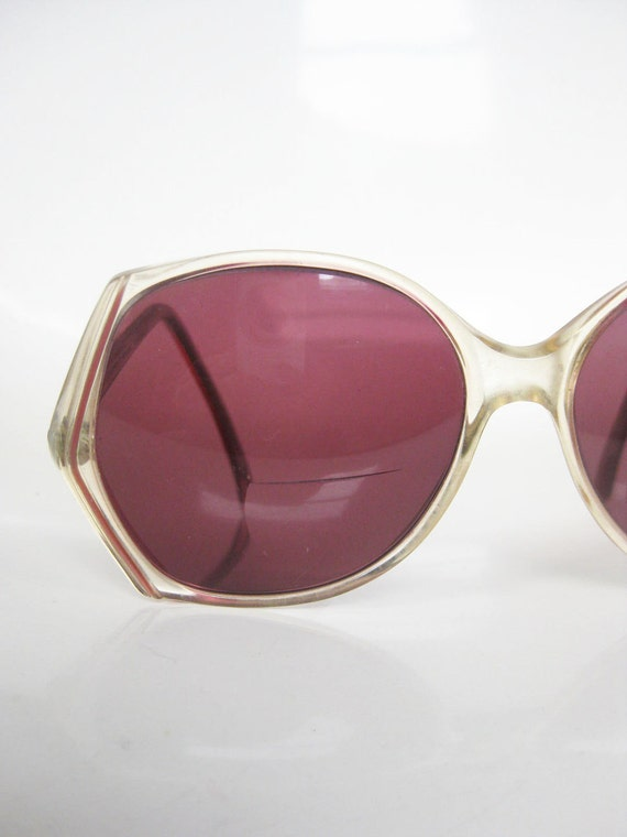 Vintage 1970s Sunglasses BUTTERFLY Oversized Womens Ladies Eyeglasses Glasses 70s BOHO Indie Chic PINK Mauve