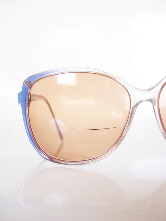Vintage 1980s Sunglasses Oversized Blue Eyeglasses Glasses HUGE Indie Boho Chic 80s Eighties Glam Boho