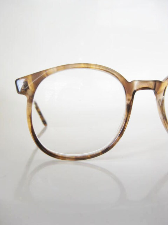 Vintage ROUND 1970s Eyeglasses Sunglasses Womens 70s INDIE Wayfarer HIPSTER Coffee Brown Circular Geek Chic