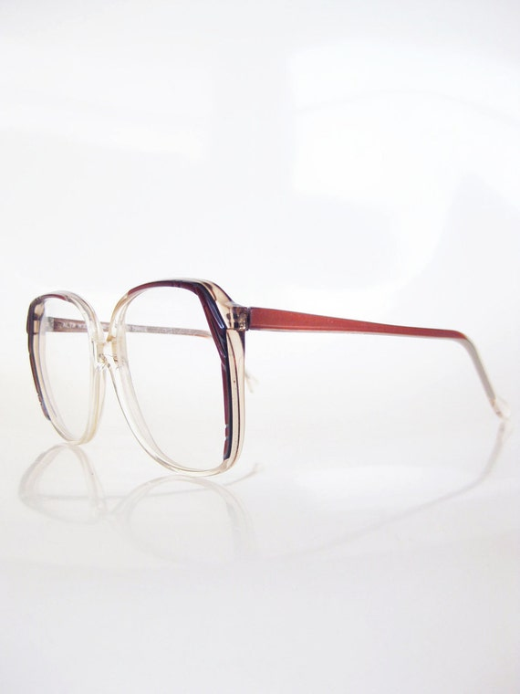 Vintage FRENCH Oversized Eyeglasses 1980s Glasses Optical Frames HUGE Indie Hipster 80s Eighties RED