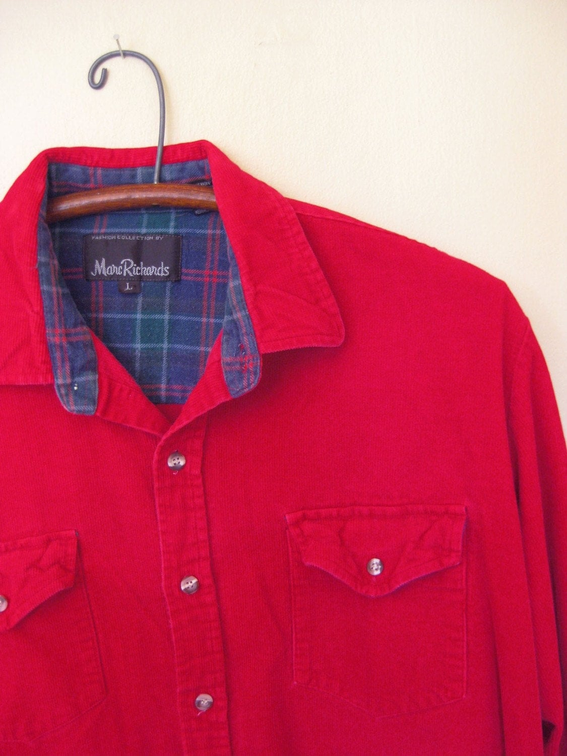 Vintage Mens Brick Red Corduroy Long Sleeve Shirt M L Medium